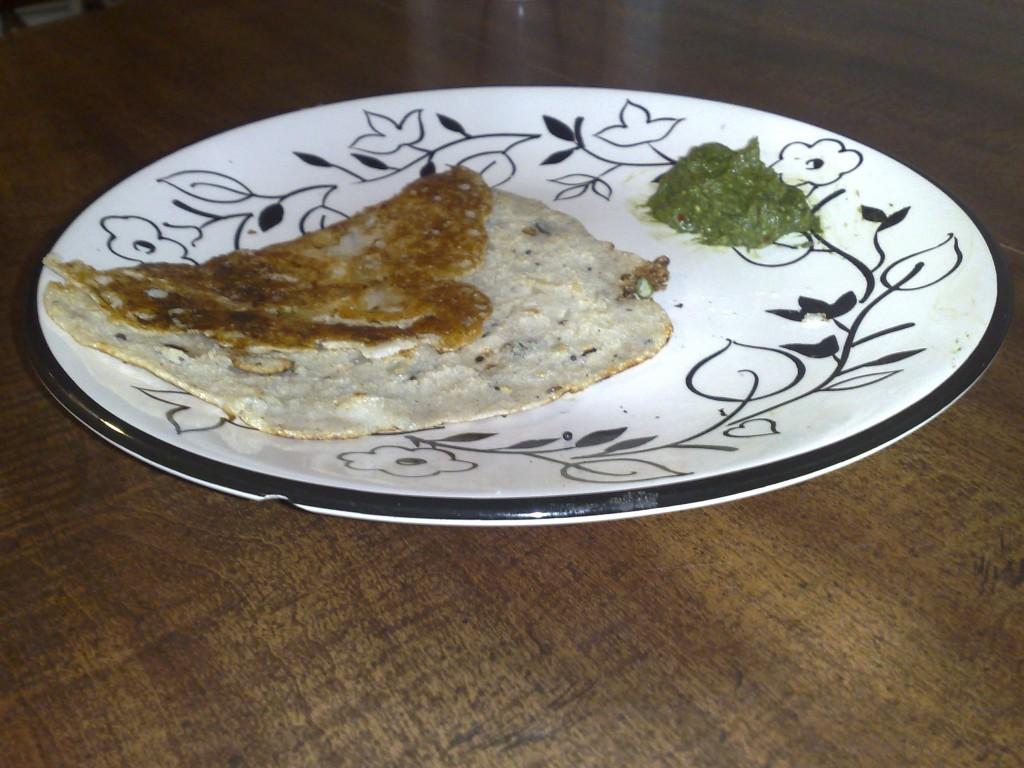 Rava Dosa with coriander chutney