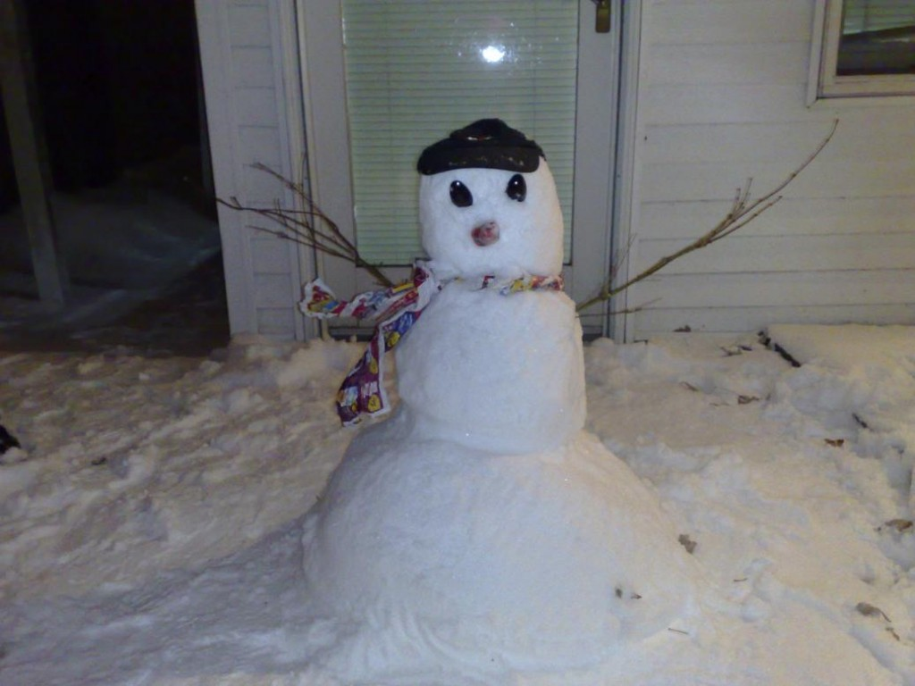 Snowman with his cap on