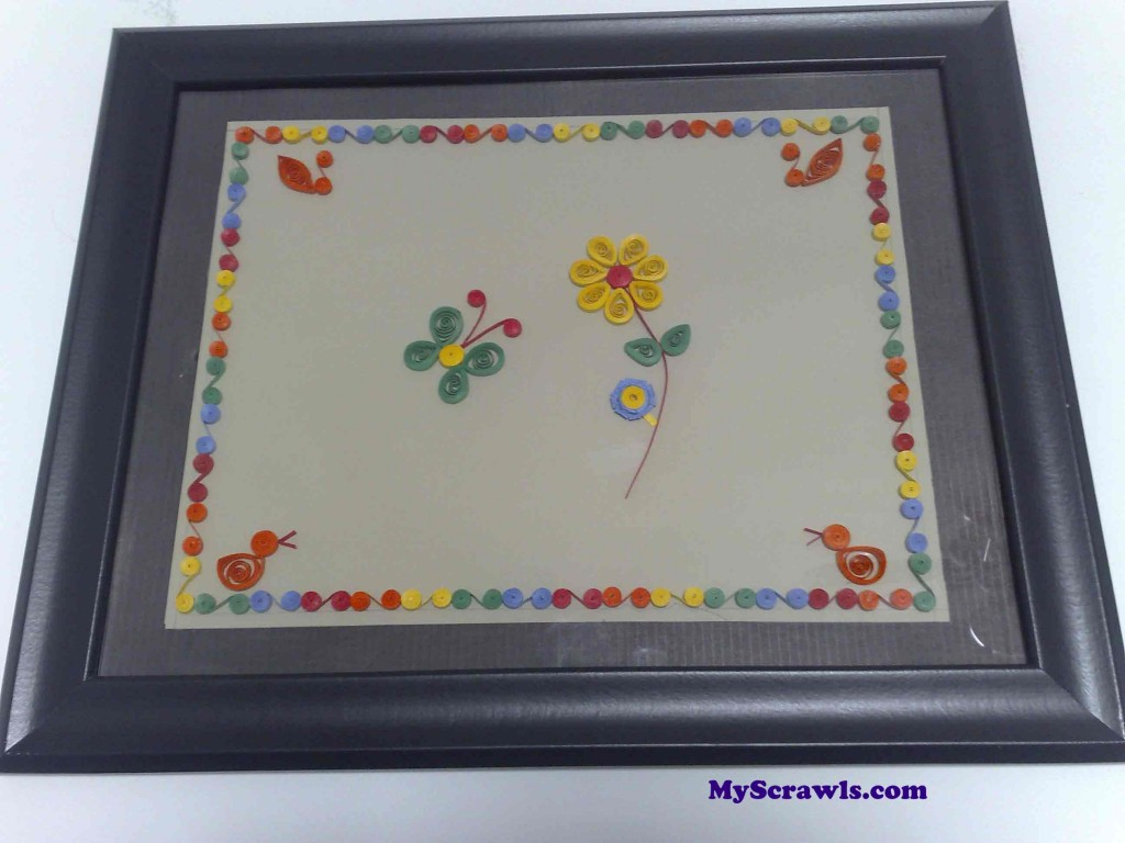 Quilling design with the frame