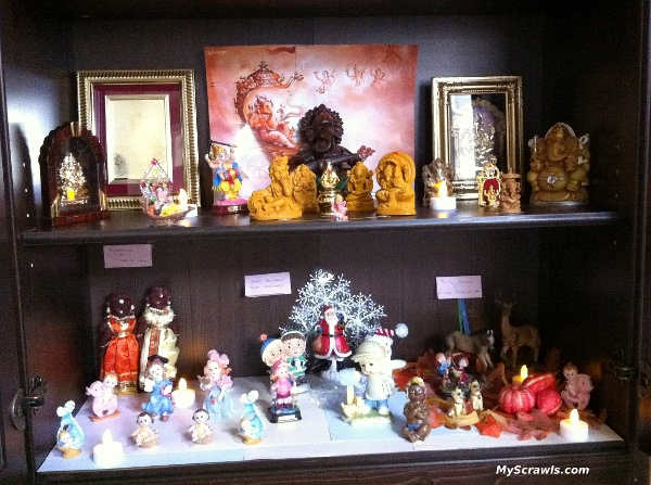 navarathri kolu (in our pooja cabinet)