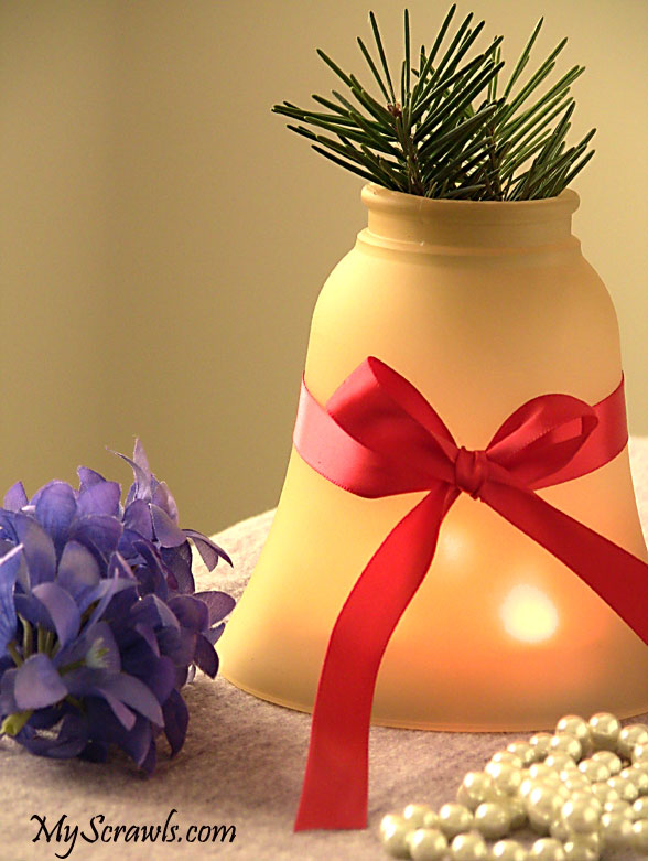 Light fixture turned as Holiday Centerpiece