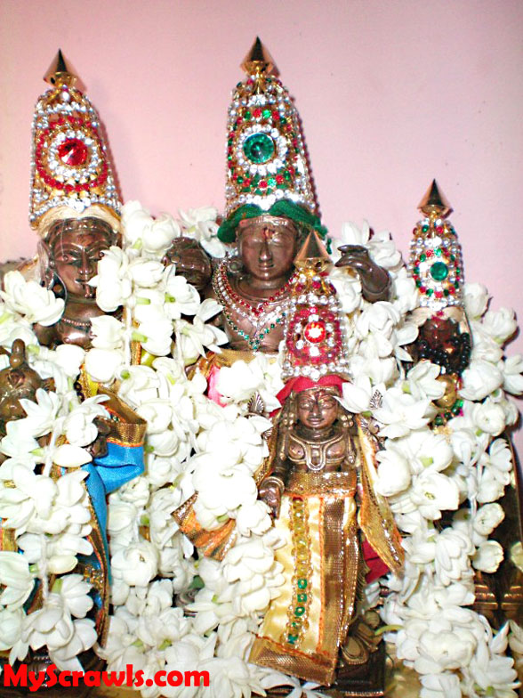 Rama , Lakshmana & Sita devi with Lord Srinivasa (in front)