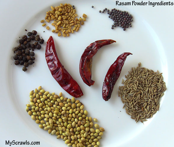 Rasam powder ingredients